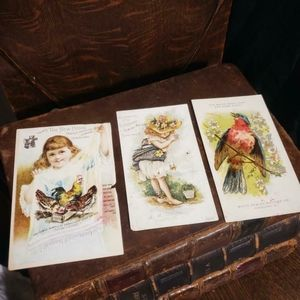 Lot of antique Victorian sewing advertisements.